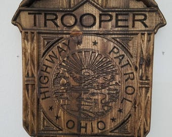 Custom #Ohio Highway Patrol #Trooper #Police Badge  - Personalized Badge 3D V Carved Wood Sign