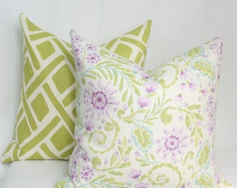 Purple green decorative throw pillow cover 18x18