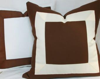 "Brown & white or ivory ribbon border decorative throw pillow. 18"" x 18"" to 24' x 24"""