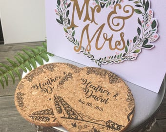 Personalized Wedding Cork Coasters, Wedding Favors, Vineyard design