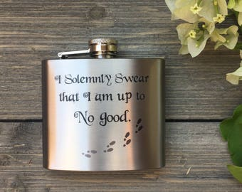 Stainless Steel Flask - Up to No Good Design 5oz
