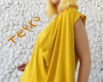SALE 15% OFF Plus Size Yellow Top / Oversize Women Blouse TT39
