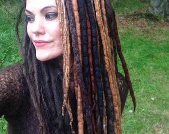 Earthy 'Merlocks' with Glitter Felted Dread Falls, Natural, Roots, Nomad, Shaman, Faery, Burning Man Festival Fashion, Psy Pixie Dreadlocks