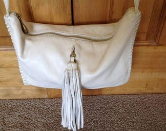 Hobo International Winter White Soft Buttery Leather Fringe crossbody Bag Purse