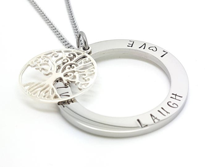 Inspirational pendants family names tree of life pendant personalised jewellery hand stamped name necklaces silver family name pendants aloadofball Images