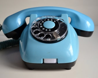 Rotary Telephone - Vintage Blue Phone with Rotary Dial - Retro Bright Landline Phone - 70s Home/Office Decor - Oldschool Working Retro Phone