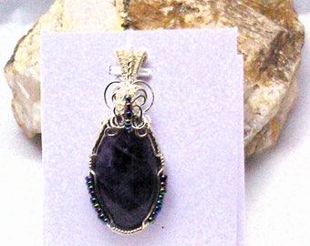 Rich Deep Purple Amethyst Handmade Wire Wrapped Pendant