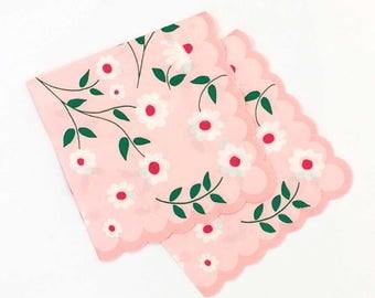 Pink Napkins, Princess Party, Small Party Napkins, Meri Meri Paper Napkins, Floral Napkin, Pink Party Decor, Girl Birthday, Pastel Pink