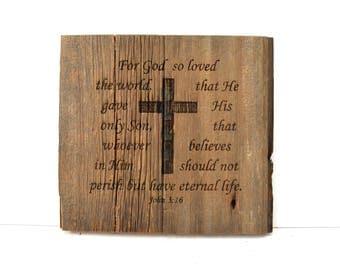John 3:16 Barnwood Sign