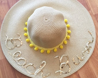 Customized- Sequin Beach Bum Floppy Straw hat