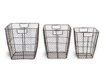 Metal Wire Basket Set, Brown Baskets, Vintage Baskets, Storage Baskets, Magazine Holder, Towel Holder, Metal Baskets, Metal Bins