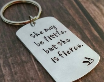 Personalized fierce keychain, hand stamped keychain for girl