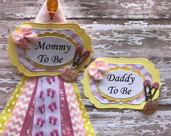 Pink Chevron & Yellow Set Mommy To Be and Daddy To Be Baby Shower Corsage Badge