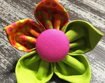Flower Collar Attachment & Accessory for Dogs and Cats /Funky Orange Green and Pink Polka Dots