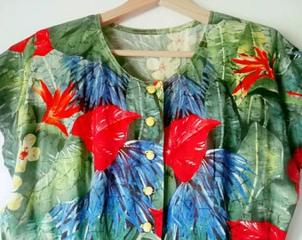 Vintage 80s jungle print dress
