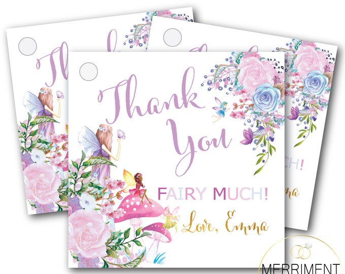 Fairy Favor Tags // Thank you tags // Floral // Purple // Gold // Pink // Printed or Printable // diy // ANN ARBOR COLLECTION