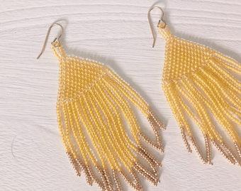 Glass bead fringe earrings