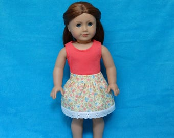 Handmade Tank Top and  Skirt to fit 18 in Dolls such as american girl doll clothes