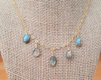 15% OFF SALE Faceted Labradorite Drop Necklace 18K Gold Plated over 925 Sterling Silver / Gold Vermeil / Labradorite Dangle Necklace / Wire