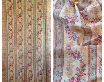Gorgeous antique FRENCH faded florals rose garlands striped 1880s textile fabric ~projects