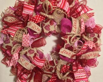 SALE Valentine's Day wreath, Valentine's Day burlap wreath, heart wreath, mesh wreath, valentine wreath, Valentine's wreaths, wreath, wreath