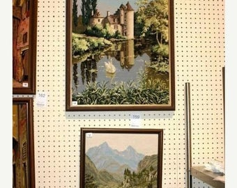 "SUMMER IS HERE Stunning 19X26"" Framed Needle Point  ""Castle on the Rhine"""