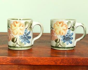 Louisville Stoneware Country Flower 2 Green Mugs