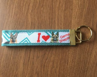German Shepherd Key Chain Zipper Pull Wristlet