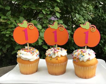 12 Pumpkin Birthday Cupcake Toppers, Pumpkin Party Decorations, Pumpkin Birthday- CHOICE OF COLORS
