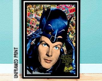 Batman Tribute Comic Book Art Print - Adam West Poster - DC Comic Strip Hero - Baby Boomers Art Print - DC Comic Art Print - Batman Poster