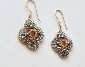 Beaded Earrings Dangle Silver and Gold Seed Beads, Bridal Shower Favors Gift for sister