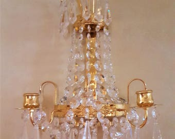 "Lövsjö Swedish Vintage  candleholder/lamp 24 karat gold plated with ""STRASS"" SWAROVSKI crystal free shipping"