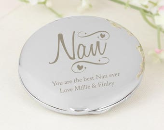 Personalised Nan + Any Message Compact Mirror, Christmas, Birthday, Mothers Day, Gift for Nan