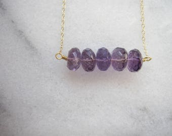 February Birthstone Necklace, Amethyst Rondelle Necklace, Minimalist Jewelry, February Birthday Gift