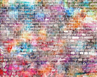 Graffiti wall Backdrop,vinyl photography background, graffiti brick wall backdrop for party celebration decor photodrop XT-5591