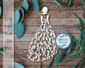 Floral Bride 1 Design SVG DXF PNG Pdf Jpg - Papercutting Template to print and cut yourself (Commercial Use)
