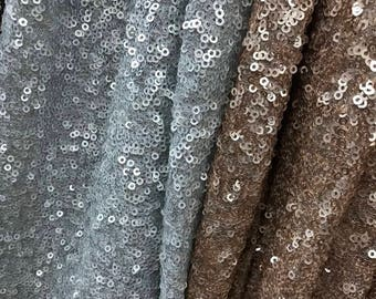 High Quality beige/off white Sparkly sequins Embroidery Mesh Lace Sequin Fabric sewing wedding party dress fabric by yard