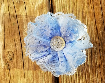 Blue Lace Flower/Girl's Accessory/Baby Girl Hairclip/Flower Girl/Photo Prop/Girls Hair Clip/Flower Girl/Blue Lace Hairclip/Wedding Flower