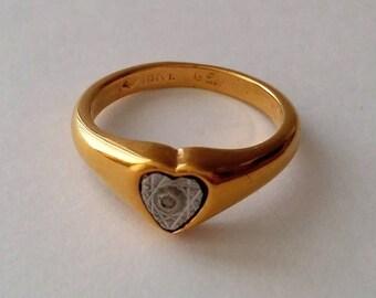 Vintage VARGAS 18k Gold Electroplated Heart Ring