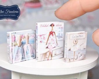 Book SET Tilda -  miniature handmade Dollhouse 1:12, sewing room, craft, decoration