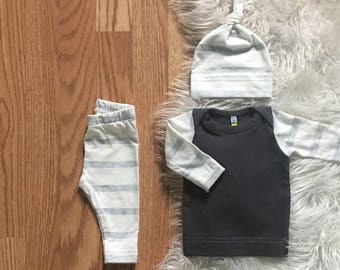newborn boy take home outfit and hat, infant outfit, coming home, hospital, newborn boy, infant boy, baby boy off white heather gray stripes