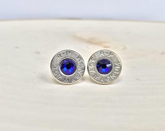 357 Magnum and Blue Crystal Bullet Earrings