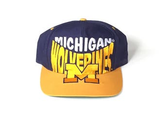 Michigan wolverines ncaa football Snapback logo 7 Snap back Strapback hat One Size Adult Unisex twill blue yellow
