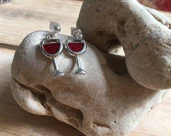 Wine Charm Earrings, Gift for Friend, Wine Lover Gift