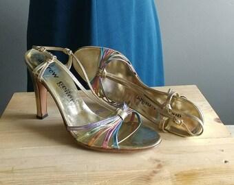 Vintage High Heels Made In Italy Strappy Metallic Rainbow Vintage Andrew Geller 8 N Vintage Shoes Vintage Heels 70s High Heels Sandals Gold