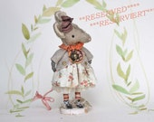 RESERVED ++  Primitive Folk Art OOAK mouse art doll spun cotton figurine
