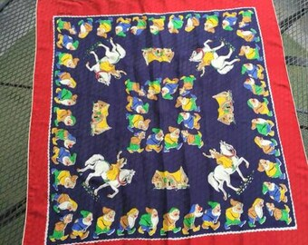 RARE VINTAGE DISNEY 1930's Snow White and the Seven Dwarfs 100% Silk Scarf by Colombet of France. Rolled hem.