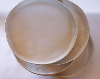 4 Round White Stoneware plate set
