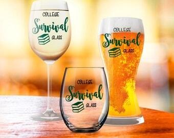 College Student Gift, College Survival Glass, Funny Student Glass, Grad School Student Gift, New College Student Idea, Birthday Present