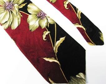 Vintage 1990'  Oscar de Larinta Teal Rust Rose And Blue Design Mens Tie Excelent Shape